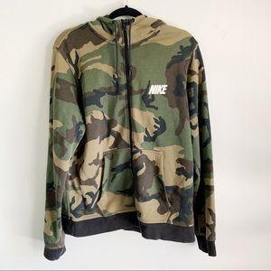 Nike Camo Zip Hoodie Sweatshirt Jacket Large